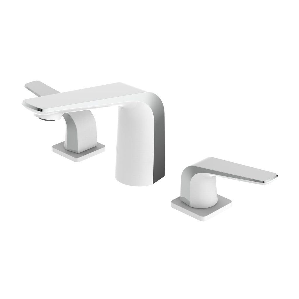BAI 0647 Two Handles Contemporary Lavatory / Bathroom Faucet / White and Polished Chrome