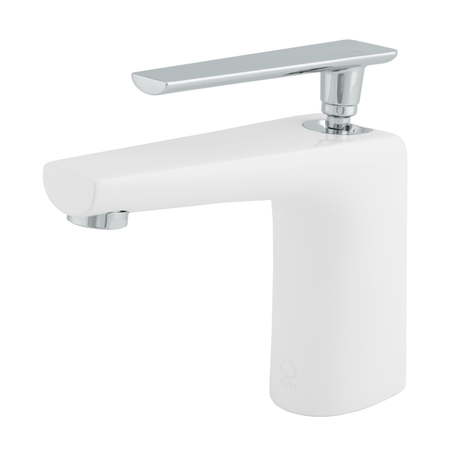 BAI 0649 Single Handle Contemporary Bathroom Faucet in White and Polished Chrome Finish