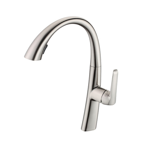 BAI 0659 Kitchen Faucet / Single Handle / Pull Down Hand Spray / Brushed Nickel Finish