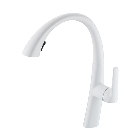 BAI 0660 Kitchen Faucet / Single Handle / Pull Down Hand Spray / Bright White Finish