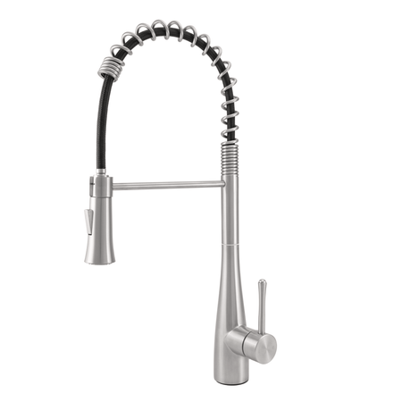 BAI 0671 Stainless Steel Single Handle Kitchen Faucet with Pull-Down System in Brushed Finish