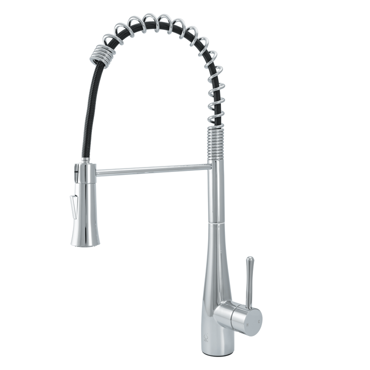 BAI 0672 Stainless Steel Single Handle Kitchen Faucet with Pull-Down System in Polished Chrome Finish