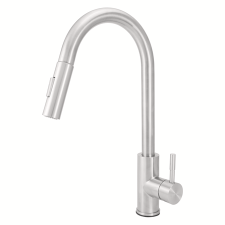 BAI 0677 Stainless Steel Single Handle Kitchen Faucet with Pull-Down System in Brushed Finish
