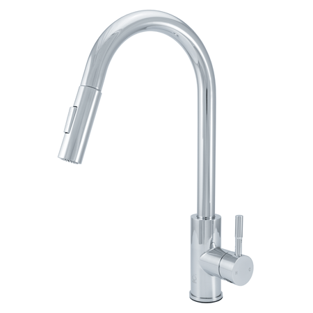 BAI 0678 Stainless Steel Single Handle Kitchen Faucet with Pull-Down System in Polished Chrome Finish