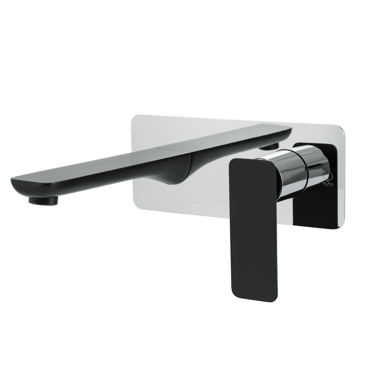 BAI 0679 Single Handle Contemporary Wall Mounted Lavatory / Bathroom Faucet / Black and Polished Chrome