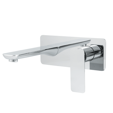 BAI 0680 Single Handle Contemporary Wall Mounted Bathroom Faucet in Polished Chrome Finish