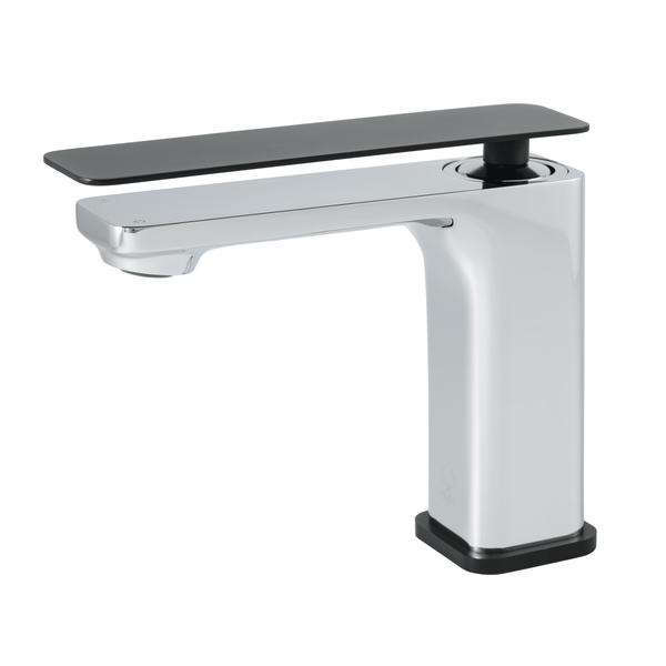 BAI 0682 Single Handle Contemporary Bathroom Faucet in Black and Polished Chrome Finish