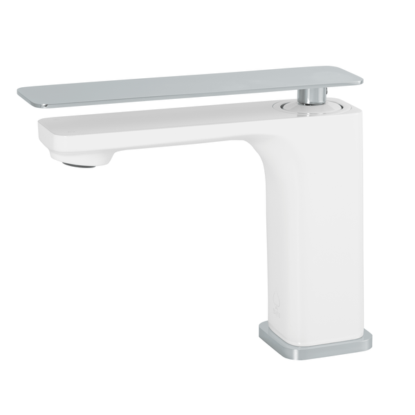 BAI 0685 Single Handle Contemporary Bathroom Faucet in White and Polished Chrome Finish