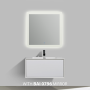 BAI 0702 Wall Hung 36-inch Bathroom Vanity in Gloss White Finish