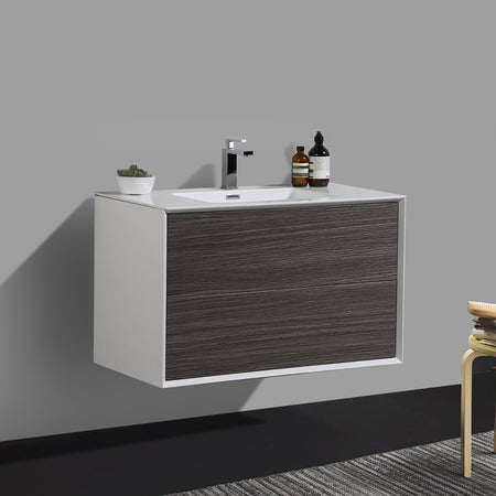 BAI 0704 Wall Hung 36-inch Bathroom Vanity in Graphite Wood Finish