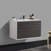 BAI 0704 Vanity Cabinet / Gloss White Body / Gray Oak Double Drawer / 36""