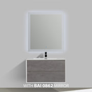 BAI 0707 Wall Hung 36-inch Bathroom Vanity in Stone Gray Finish