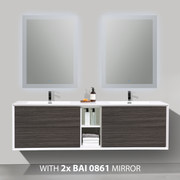 BAI 0708 Wall Hung 75-inch Bathroom Vanity in Graphite Wood Finish
