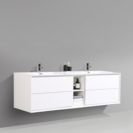 BAI 0710 Vanity Cabinet / Gloss White Body / Gloss White Double Drawers / 75""