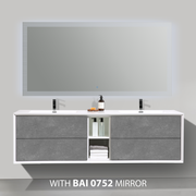 BAI 0711 Wall Hung 75-inch Bathroom Vanity in Stone Gray Finish