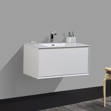 BAI 0714 Vanity Cabinet / Gloss White Body / Gloss White Single Drawer / 30""