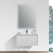 BAI 0714 Wall Hung 30-inch Bathroom Vanity in Gloss White Finish