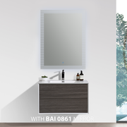 BAI 0716 Wall Hung 30-inch Bathroom Vanity in Graphite Wood Finish