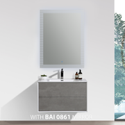 BAI 0719 Wall Hung 30-inch Bathroom Vanity in Stone Gray Finish
