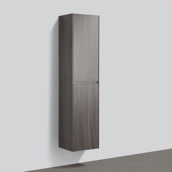 BAI 0749 Wall Hung Bathroom Side Cabinet / Reversible / Graphite Wood Finish / 16""