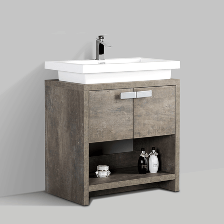 BAI 0753 Floor Standing 30-inch Bathroom Vanity Cabinet in Rustic Stone Finish