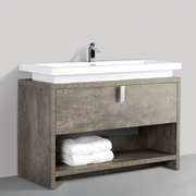 BAI 0754 Floor Standing 47-inch Bathroom Vanity Cabinet in Rustic Stone Finish