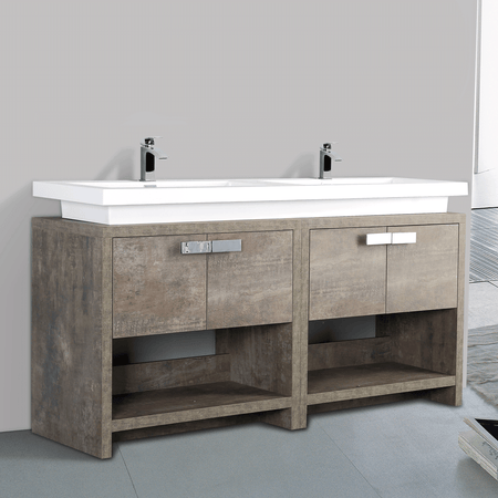 BAI 0755 Floor Standing 63-inch Bathroom Vanity Cabinet in Rustic Stone Finish