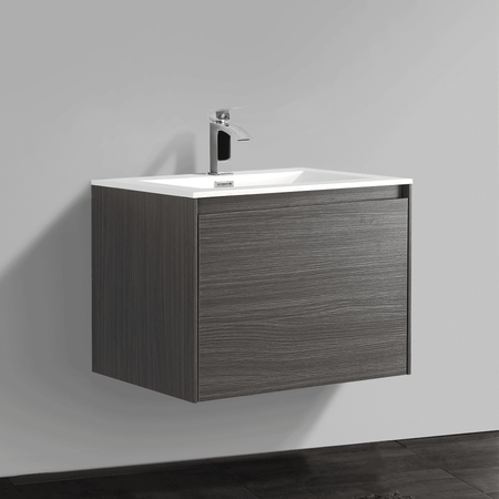 BAI 0757 Wall Hung 24-inch Bathroom Vanity in Graphite Wood Finish