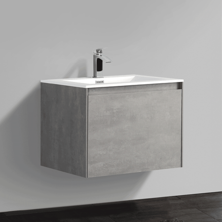 BAI 0758 Wall Hung 24-inch Bathroom Vanity in Stone Gray Finish