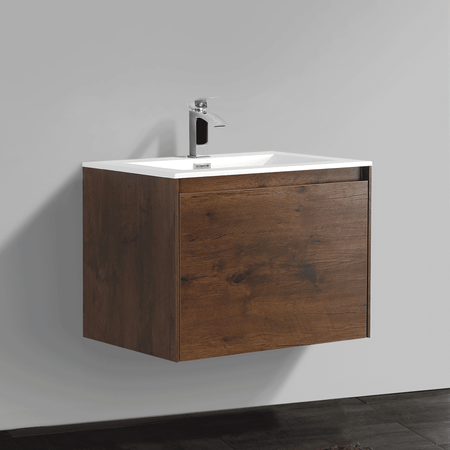 BAI 0759 Wall Hung 24-inch Bathroom Vanity in Rose Wood Finish