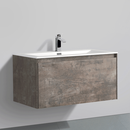 BAI 0760 Wall Hung 36-inch Bathroom Vanity in Rustic Stone Finish