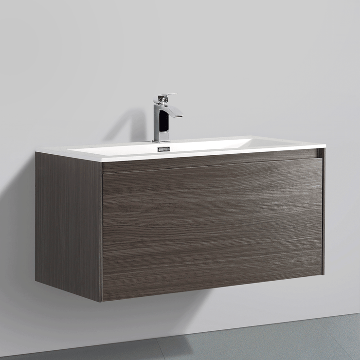 BAI 0761 Wall Hung 36-inch Bathroom Vanity in Graphite Wood Finish