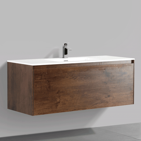 BAI 0767 Wall Hung 47-inch Bathroom Vanity in Rose Wood Finish