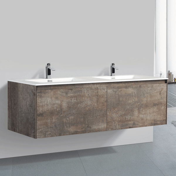 BAI 0768 Wall Hung 59-inch Bathroom Vanity in Rustic Stone Finish