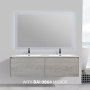 BAI 0770 Wall Hung 59-inch Bathroom Vanity in Stone Gray Finish