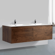 BAI 0771 Wall Hung 59-inch Bathroom Vanity in Rose Wood Finish