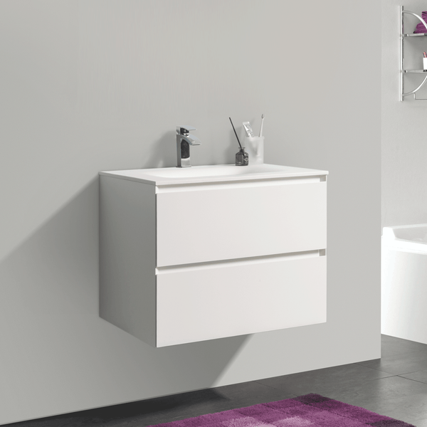 BAI 0800 Wall Hung 26-inch Bathroom Vanity in Matte White Finish
