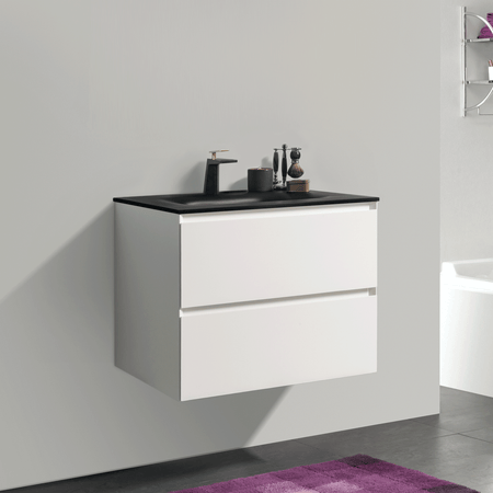 BAI 0801 Wall Hung 26-inch Bathroom Vanity in Matte White Finish
