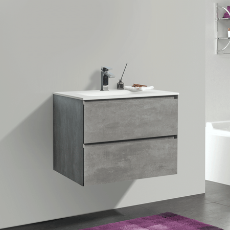 BAI 0802 Wall Hung 26-inch Bathroom Vanity in Stone Gray Finish