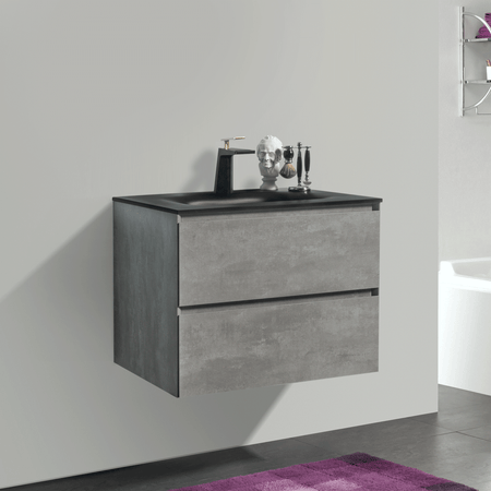 BAI 0803 Wall Hung 26-inch Bathroom Vanity in Stone Gray Finish