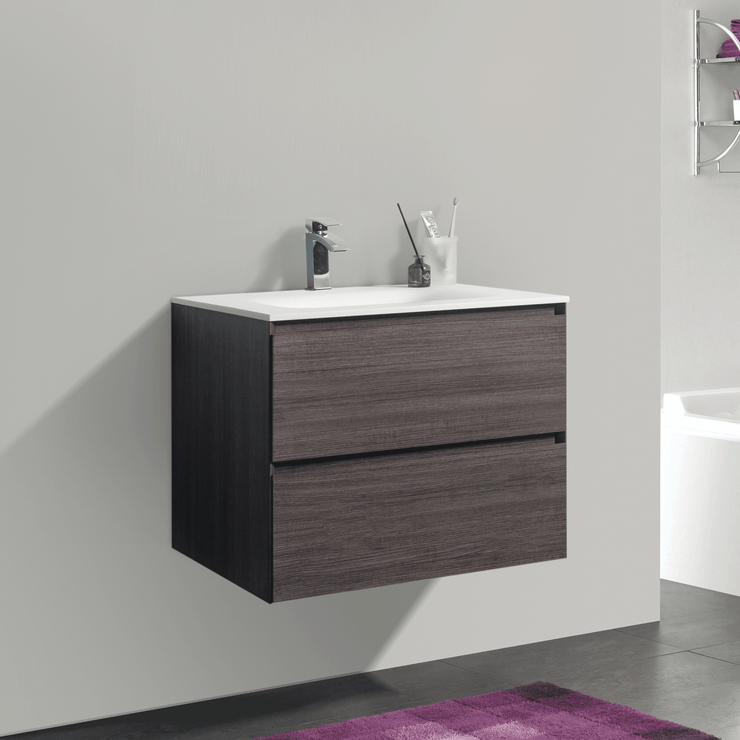 BAI 0804 Wall Hung 26-inch Bathroom Vanity in Graphite Wood Finish