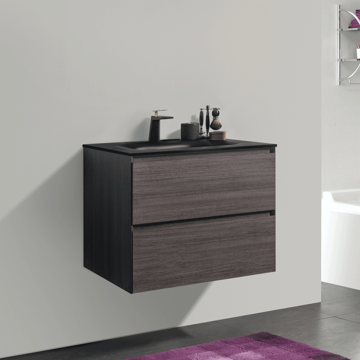 BAI 0805 Wall Hung 26-inch Bathroom Vanity in Graphite Wood Finish