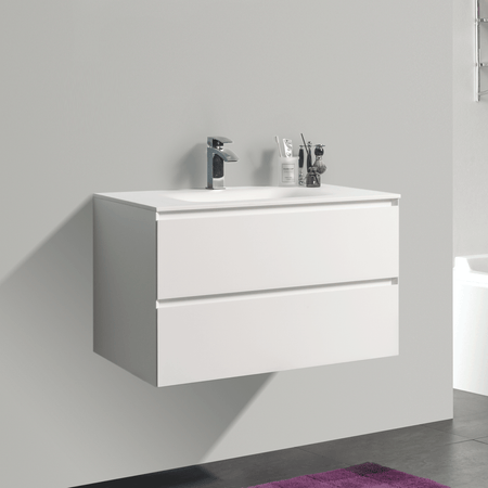 BAI 0806 Wall Hung 34-inch Bathroom Vanity in Matte White Finish