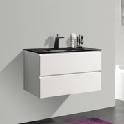 BAI 0807 Wall Hung 34-inch Bathroom Vanity in Matte White Finish