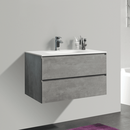 BAI 0808 Wall Hung 34-inch Bathroom Vanity in Stone Gray Finish