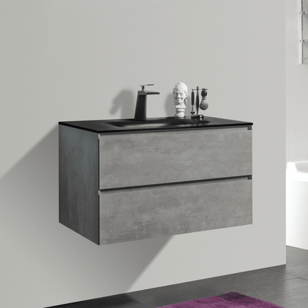 BAI 0809 Wall Hung 34-inch Bathroom Vanity in Stone Gray Finish