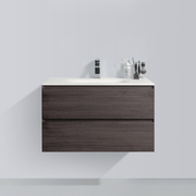BAI 0810 Wall Hung 34-inch Bathroom Vanity in Graphite Wood Finish