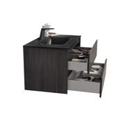 BAI 0811 Wall Hung 34-inch Bathroom Vanity in Graphite Wood Finish