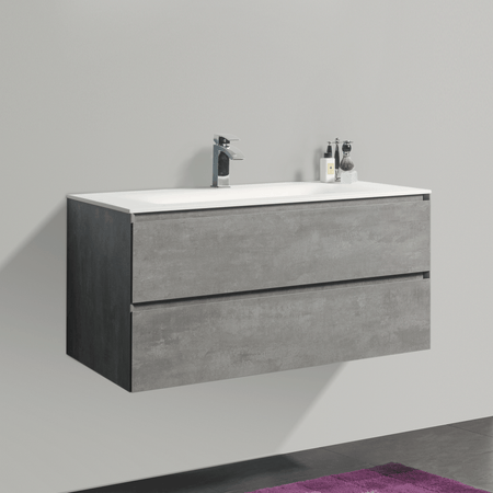 BAI 0814 Wall Hung 42-inch Bathroom Vanity in Stone Gray Finish