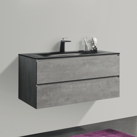 BAI 0815 Wall Hung 42-inch Bathroom Vanity in Stone Gray Finish